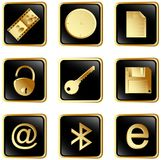 3 μαύρα κουμπιά που τίθεντα& Στοκ Εικόνες