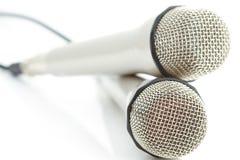 3 μικρόφωνα δύο Στοκ Εικόνες