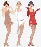 3 νέες όμορφες γυναίκες πτερυγίων της δεκαετίας του '20 απεικόνιση αποθεμάτων