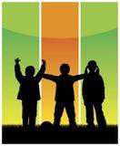3 παιδιά ομαδοποιούν διανυσματική απεικόνιση