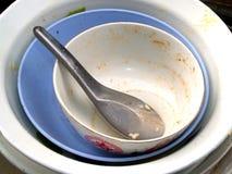 3 πιάτα άπλυτα Στοκ εικόνες με δικαίωμα ελεύθερης χρήσης
