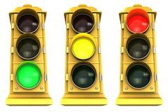 3 στο κέντρο της πόλης πακέτο stoplight Στοκ Εικόνες