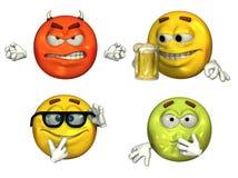 3 τρισδιάστατα μεγάλα emoticons που τίθενται Στοκ Εικόνα