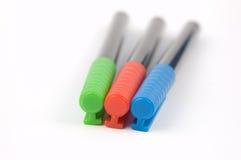 3 χρωματισμένες πέννες δει&k στοκ φωτογραφίες