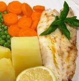 3 ψημένο στη σχάρα ψάρια γεύμα στοκ φωτογραφία