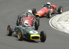 3 автомобиля dicing hairpin формулы участвуют в гонке ветераны Стоковая Фотография RF