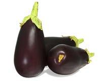 3 баклажана aubergine на белизне Стоковая Фотография RF