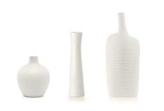 3 белых вазы Стоковые Изображения RF