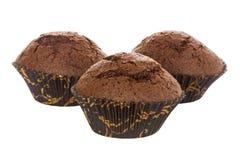 3 булочки шоколада на белизне Стоковые Изображения