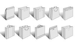 3 версия проиллюстрированная мешками ходя по магазинам Стоковые Фотографии RF
