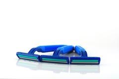 3 голубых бритвы над белизной Стоковые Изображения RF