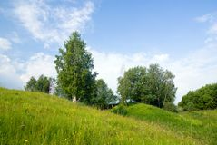 3 голубых вала неба ландшафта травы Стоковое Изображение RF
