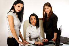 3 дел экрана деятельность женщины совместно Стоковое Фото