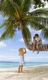 3 дет на пальме Стоковые Изображения