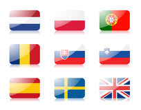 3 европейских флага установили соединение стоковые изображения rf
