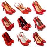 3 женских красных ботинка Стоковые Фото