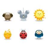 3 животных иконы Стоковая Фотография RF