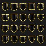 3 значка чернят комплект золота границ Стоковое Изображение RF