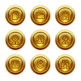 3 иконы золота кнопки установили сеть Стоковое Фото
