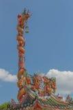 3 китайских золотистых дракона в солнечном дне Стоковое Фото