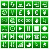 3 кнопки зеленеют квадратную сеть Стоковое Изображение