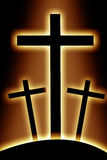 3 креста на холме Стоковые Фото