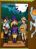 3 малыша на пороге. Ноча Halloween иллюстрация вектора