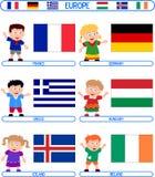 3 малыша флагов европы Стоковая Фотография RF