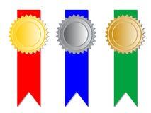 3 медали с тесемками иллюстрация вектора