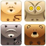 3 одичалого иконы животных установленных Стоковое Фото