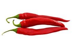 3 перца красных chili изолированного на белизне Стоковое Фото