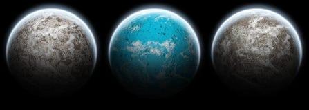 3 планеты лун предпосылки черных установили стоковое фото