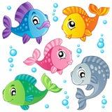 3 рыбы собрания милых различной иллюстрация вектора