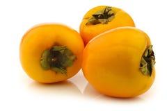 3 свежих плодоовощ kaki Стоковая Фотография RF