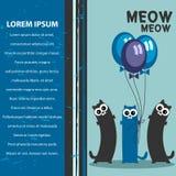 3 смешных кота с воздушными шарами иллюстрация вектора