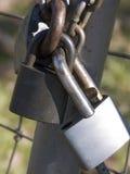 3 соединенных padlocks совместно Стоковые Фото