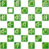 3 тональнозвуковых зеленых средства икон отсутствие видео комплекта Стоковое Фото