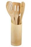 3 утвари кухни бамбука установленных Стоковое фото RF
