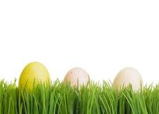 3 цветастых яичка на зеленой траве Стоковая Фотография RF
