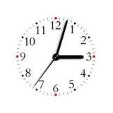 3:03 analogue bianco rosso nero del fronte di orologio, isolato Immagine Stock