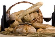 3 10 12 chlebów wino Obraz Royalty Free