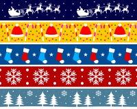 3个边界圣诞节集 免版税库存照片