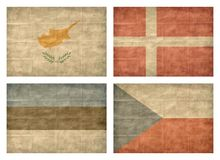 3/13 Flags of European countries. Vintage collection of european country flags isolated on white background. Cyprus, Denmark, Estonia, Czech Republic vector illustration