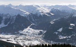 3 2007年阿尔卑斯klosters madrisa视图 库存照片