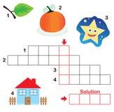 3儿童纵横填字谜零件难题 图库摄影