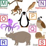 3 4个字母表动物零件 库存图片