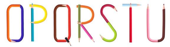 3 4个字母表铅笔 库存图片