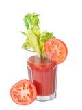 3 4个玻璃汁液蕃茄蔬菜查阅 免版税库存照片