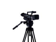 3 4黑色照相机被挂接的三脚架录影视&#22270 免版税库存照片