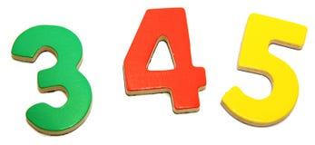 3 4 5个五颜六色的磁性编号 免版税库存照片